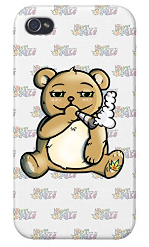 - Apple iPhone Custom Case 4 4S White Plastic Snap On - Pot Smoking Pals Bear