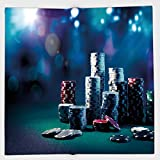 Cotton Microfiber Hand Towel,Poker Tournament Decorations,Gaming Table with Poker Chips Dramatic Display Vegas Leisure Decorative,Multicolor,for Kids, Teens, and Adults,One Side Printing