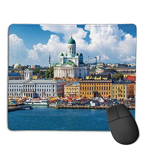 Mouse Pad Non-Slip Thick Rubber Large MousepadCityscape,Scenic Summer of The Market Square Old Town Helsinki Finnish Northern Skyline Home,Multi,Suitable for Notebook Desktop Computers,Mouse Pad wa