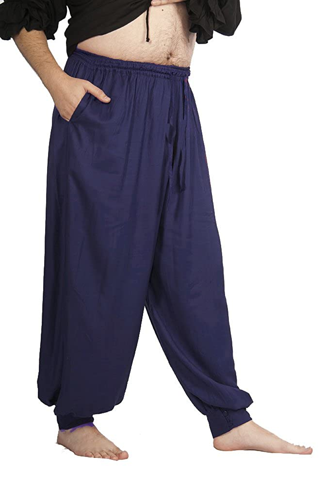 Royal Drawstring Waist Button Cuff Pirate Pants