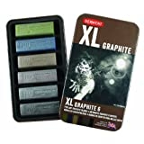 Derwent XL Graphite Blocks, Metal Tin, 6 Count (2302010)