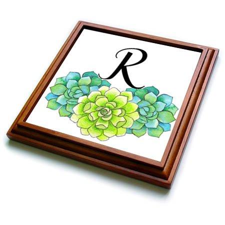 3dRose trv_267754_1 Pretty Watercolor Green Succulent Flowers Monogram R Trivet with Tile, 8'' x 8''