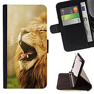 BullDog Case - FOR/Sony Xperia m55w Z3 Compact Mini / - / yawn roar lion mane powerful African animal /- Monedero de cuero de la PU Llevar cubierta de la caja con el ID Credit Card Slots Flip funda de cuer