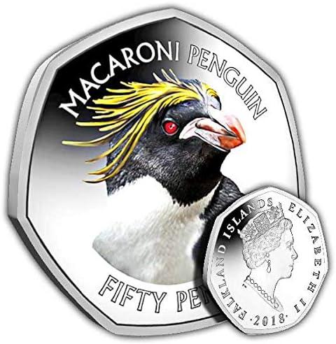 Falkland Islands 2018 Macaroni Penguin 50p Cupro Nickel Coin in a Box