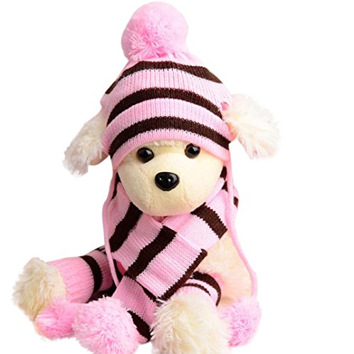 LNGRY 6Pc/Set Dog Pet Puppy Hat Scarf Leg Warmer Pet Clothes (Pink, M)