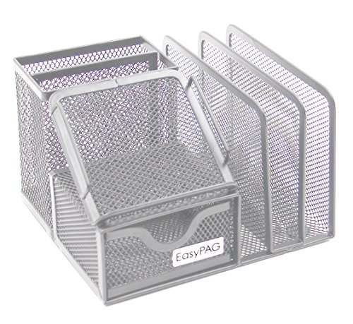 EasyPAG Mesh Collection Desk Organizer 3 Letter Sorter with Drawer,6.5 x 5.5 x 4.25 inch,Silver -