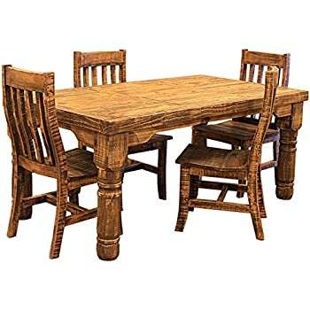 Amazon.com - 6\' Rough Cut Rustic Western Dining Room Set - Table ...