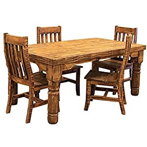 6 39 rough cut rustic western dining room set for Dining room tables on amazon