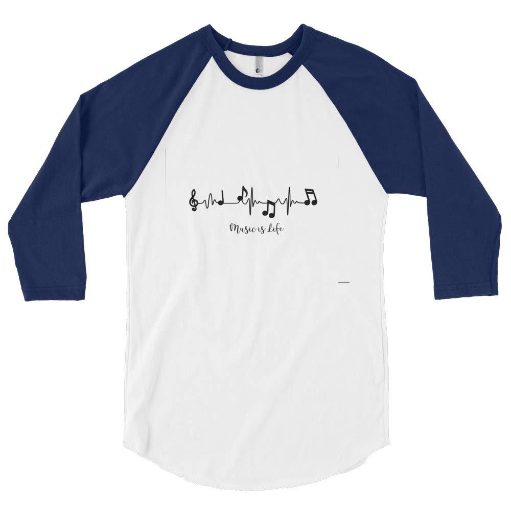 Unleashed Custom Creations 3//4 Sleeve Music is Life Raglan Shirt White//Navy