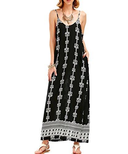 Maygold Womens Beach Boho Casual Maxi Dresses Spaghetti Strap Floral Pockets Long V-Neck Sundress
