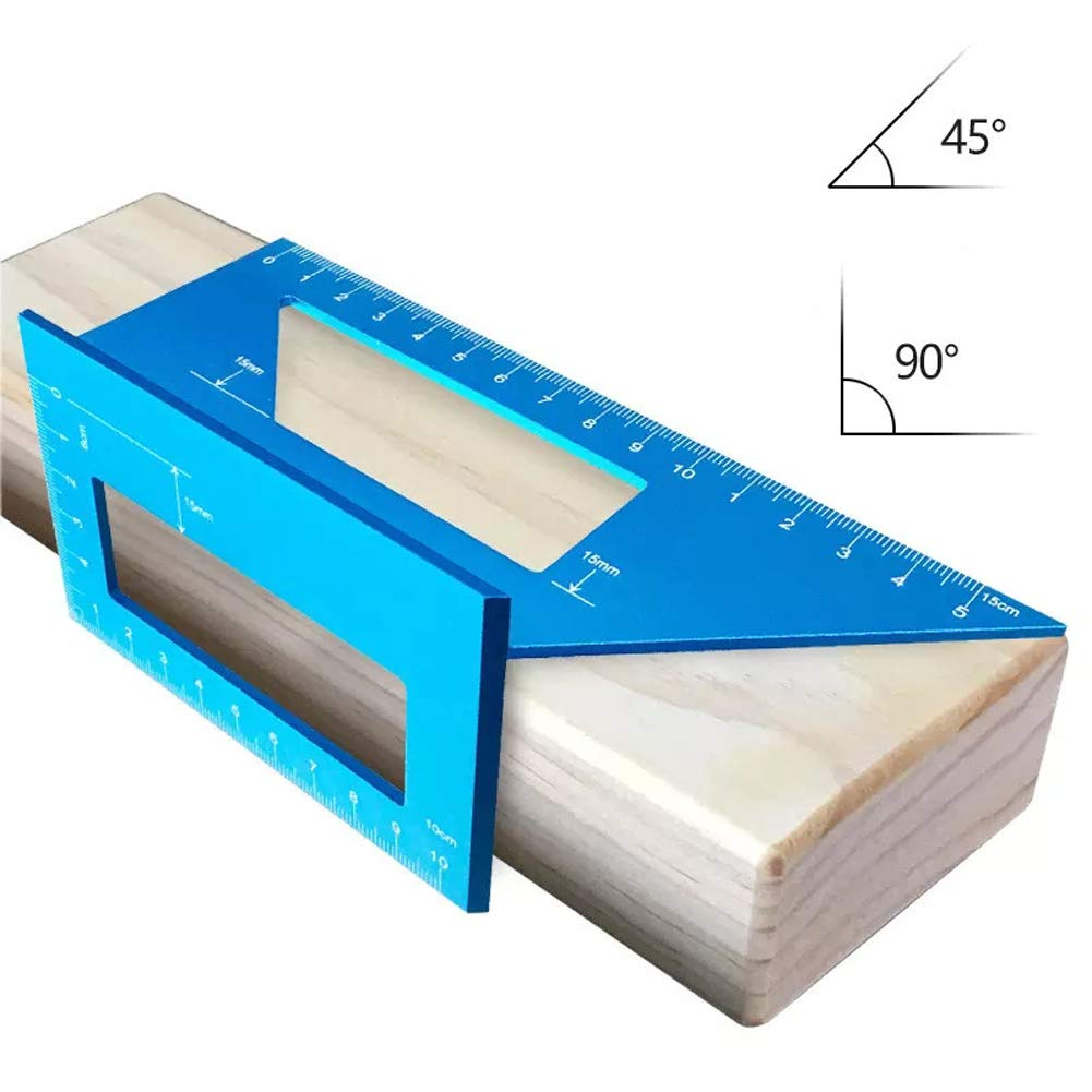 Multifunctional Saddle Layout Square Gauge 45/90 Degree Angle T Ruler Aluminum Alloy Woodworking Miter Scriber