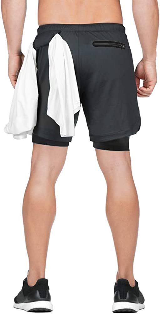 Musgneer Mens 2 in 1 Gym Training Shorts Bodybuilding Workout 7 Short Lightweight Athletic Jogger with Towel Loop