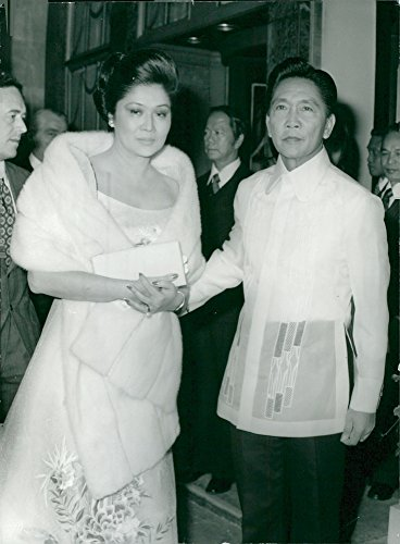 Vintage photo of Philippine President Ferdinand Marcos together with his wife Imelda Marcos