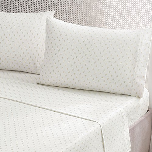 Brielle Fashion 100% Cotton Jersey Sheet Set, King, Fleur De Lis Gold