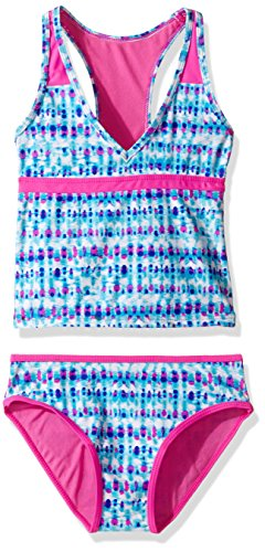 Vigoss Big Girls' Splash Two Piece Racer Back Tankini Swimsuit, Magenta, 7/8