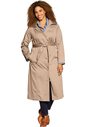 388b6443cff Amazon.com  Woman Within Plus Size Water-Resistant Long Trench Coat   Clothing