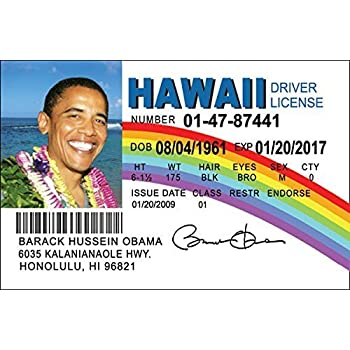 Obama Id Barack Games License com amp; Amazon Hawaii Political Fake Toys Fun