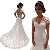 Jdress Mermaid Wedding Dresses 2018 V-Neck Short Sleeve Wedding Gown Bride Dress