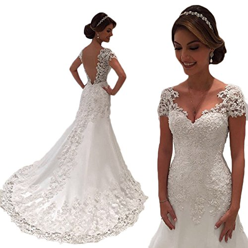 Jdress Mermaid Wedding Dresses 2018 V-Neck Short Sleeve Wedding Gown Bride Dress by Jdress