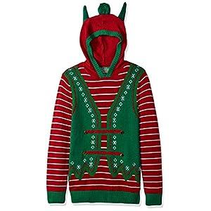 Ugly Christmas Sweater Men's Hoodie-Elf With Ears