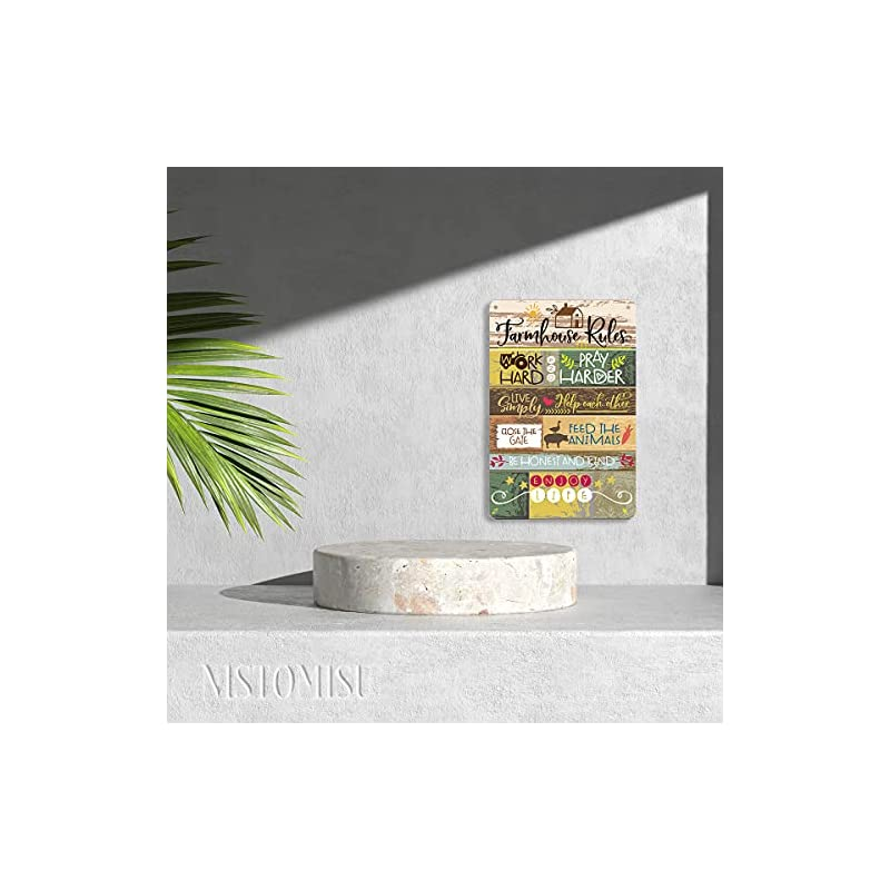 """NISTOMISU Farmhouse Rules Metal Tin Sign Wall Art Rustic Signs Gifts for Home Farm Country Wall Decor(8"""" x 12"""")"""