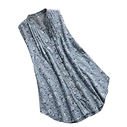 Gowom Womens V Neck Pleated Floral Print Sleeveless Casual Tops T Shirt Blouse Green Xxxx Large