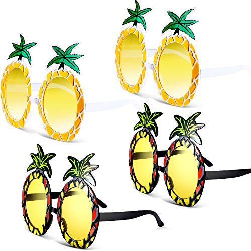 4 Pairs Pineapple Sunglasses Pineapple Shape Glasses Hawaiian Tropical Sunglasses Decoration for Dress Costume Party Accessory, 2 Styles -