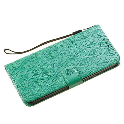 For Huawei Honor 10 Lite Wallet Case [Free Screen Protector],Magnetic Flip with Cards Slot Cash Pockets Embossed Rattan Flowers Pattern Soft Silicone Cover for Huawei Honor P Smart 2019,Green by Funyye (Image #7)