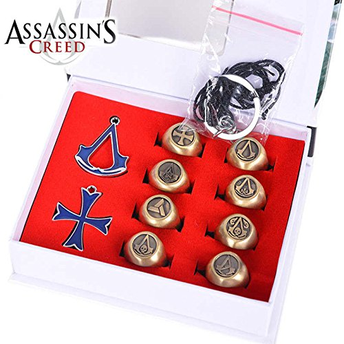 10 pcs/set 3 Colors Assassins Creed Necklace Pendants Rings Gift Boxed Action Metal Figures Model Toys (Copper)