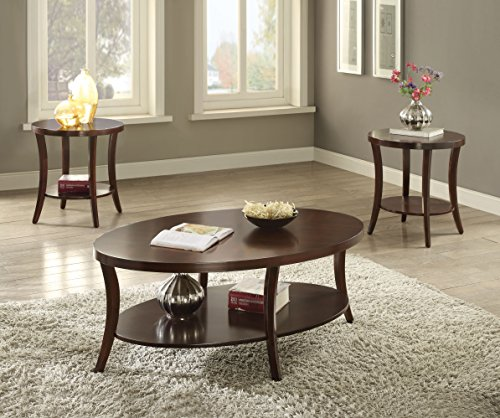 ACME Furniture 82260 3 Piece Iara Coffee 3 End Set, Espresso - 3 Piece Round Coffee Table