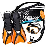 Seavenger Diving Snorkel Set - (Black Silicon/Orange) - L