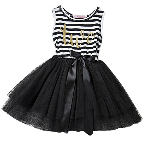 Shiny Black Stripe - Baby Girls Crown Princess Striped 1st/2nd Birthday Cake Smash Shiny Printed Party Tulle Tutu Dress Toddler Kids Outfit Black (Two Year) One Size