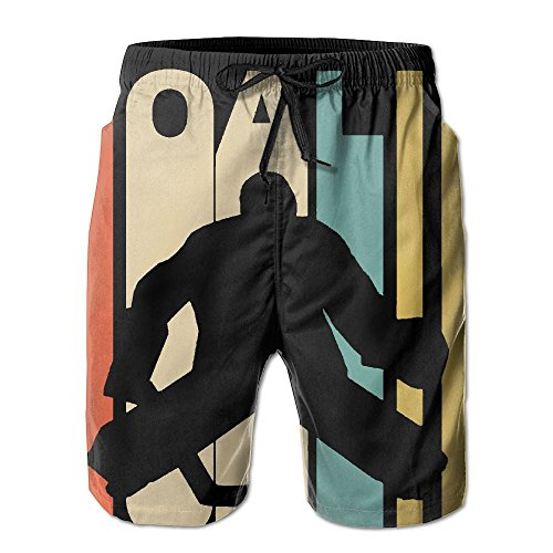 Retro 1970's Style Hockey Goalie - Men's Shorts Casual Swim Short (1970's Mens Shorts)