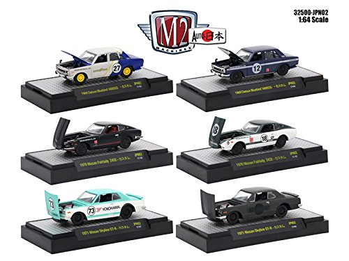 Auto Japan 6 Cars Set Nissan / Datsun IN DISPLAY CASES 1/64 Diecast Model Cars by M2 Machines 32500-JPN02