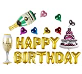 Fecedy Gold Happy birthday and Champagne Bottle Set Balloons