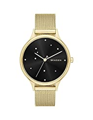 "Skagen Anita Black ""Night Sky"" Crystal-Dotted Dial Ladies Watch SKW2385"