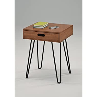 Dark Oak Finish Side End Table Nighstand Black Metal Legs with One Drawer 24 H - Mid-Century Style