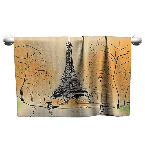 (duommhome Paris City Decor Collection Soft Superfine Fiber Bath Towel Paris Eiffel Tower with Autumn Leaves in Artistic Sketching Effect Holiday Landmark Image W12 x L35 Ivory)