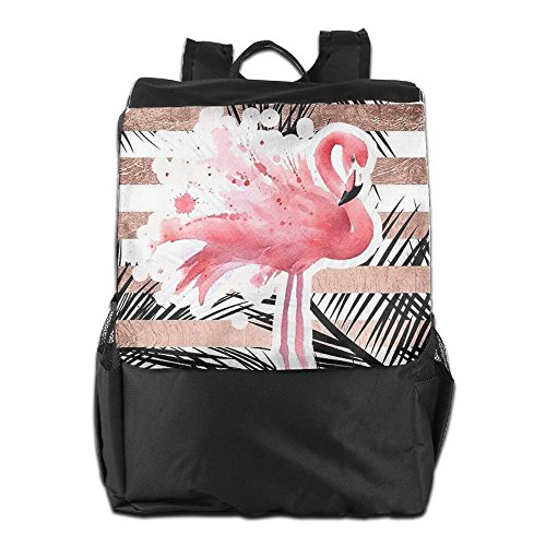 Camping Shoulder Outdoors Pink Women and Personalized Dayback Men Flamingo Backpack School HSVCUY Travel Strap Storage for Adjustable 4Ifwq