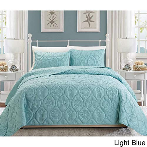 3pc Baby Blue Embossed Seashell Theme Bedspread Queen Set, Classic Coastal Seahorse Bedding, Hexagon Textured Summer Vacation Ocean Beach Sea Shell Shore Star Fish Theme - Seashell Bedding