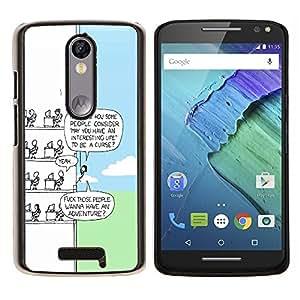 LECELL--Funda protectora / Cubierta / Piel For Motorola MOTO X3 3rd -- Funny Cartoon --