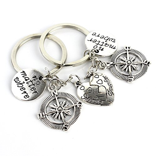 2pcs Stainless Steel Key Chain Mother Daughter Key Chain Ring Set No Matter Where Compass Split Broken Heart Friendship Pendant Family Friend Unisex Gift Keychain Ring - Best Christmas Gift Idea ()