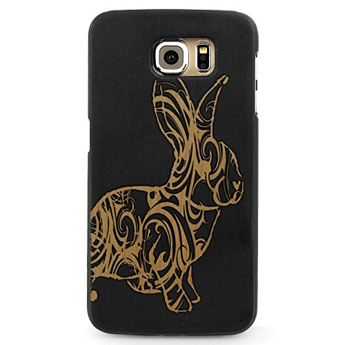JewelryVolt Wooden Phone Case for Galaxy S6 Black Wood Laser Engraved Animal Floral Swirls Bunny Rabbit