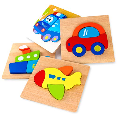 Puzzle Jigsaw Building - SKYFIELD Wooden Jigsaw Puzzles for Toddlers 1 2 3 Years Old, Boys &Girls Educational Toys Gift with 4 Vehicle Patterns, Bright Vibrant Color Shapes (Vehicle)