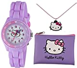 TIKKERS HELLO KITTY GIRLS LILAC SILICONE RUBBER STRAP TIME TEACHER WATCH, PURSE & NECKLACE SET - AHK032