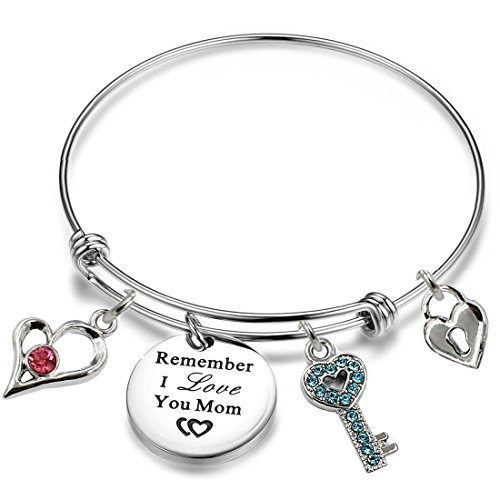 YOYONY Inspirational/motivational/LOVE/Memorial/Thankful/Beauty/Praise/Religious/Friendship Meaningful Message Charm Bracelets (Remember I love you Mom)]()