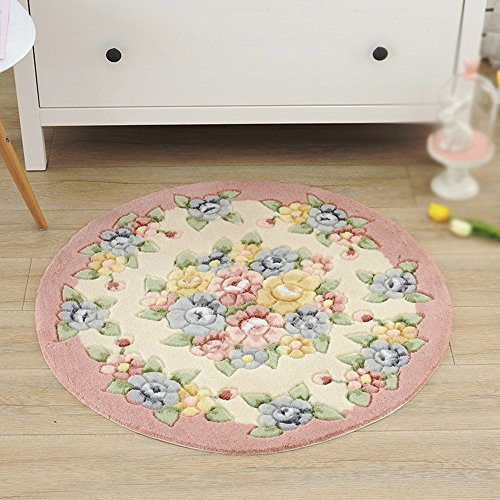 Pastoral round mat / computer chair carpet / swivel chair basket mat / living room bedroom suede protection / round carpet ( Style : B ) (Ottoman Storage Suede Round)