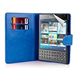 32nd Book Style Wallet PU Leather Flip Case Cover for BlackBerry Passport - Deep Blue