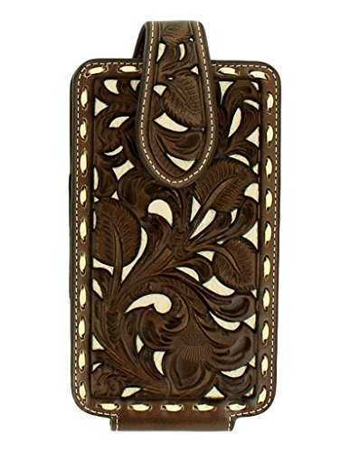 Nocona Unisex Floral Pierced Laced Edge Large Cell Phone Case Holder Tan OS
