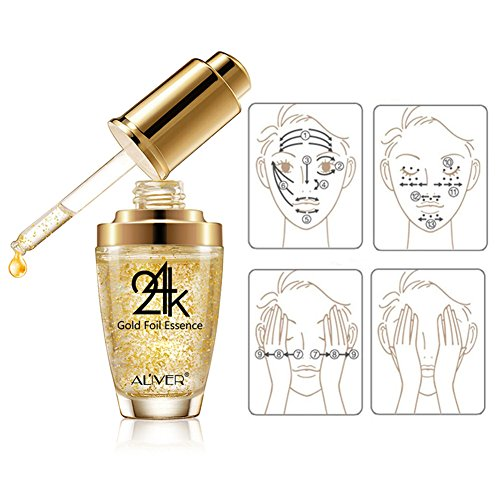 51gF0WewP3L - Moisturizer Serum for Face and Eye Area, 24K Gold Essence Anti Aging Wrinkle Moisturizing Firming Face Cream Treatment for Women Skin Care (Aliver)